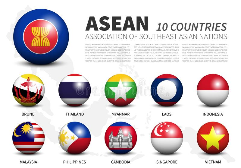 ASEAN . Association of Southeast Asian Nations . 3D circle balls and member flags design . Southeast asia map with white isolated. Background . Vector royalty free illustration