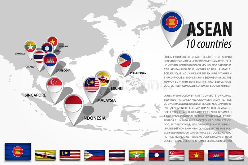 ASEAN Association of Southeast Asian Nations and GPS navigator location pin with country flag of membership on world map . Vec royalty free illustration