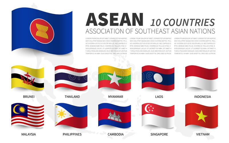 ASEAN . Association of Southeast Asian Nations and membership . Waving flags design . Southeast asia map background . Vector stock illustration