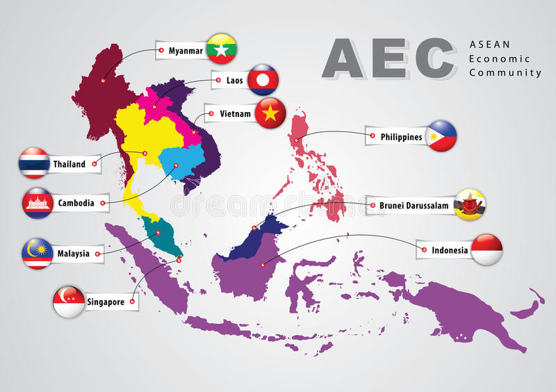 ASEAN Economic Community, AEC royalty free illustration