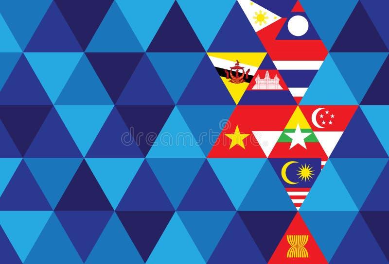 ASEAN Economic Community. AEC, background stock illustration