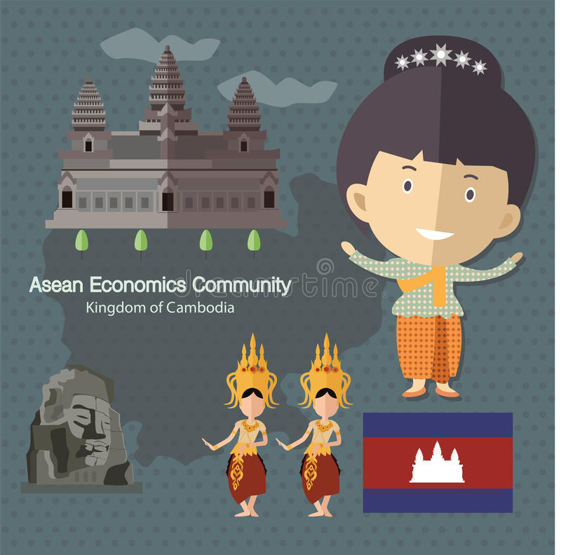 ASEAN-Economie Communautaire AEC Kambodja stock illustratie