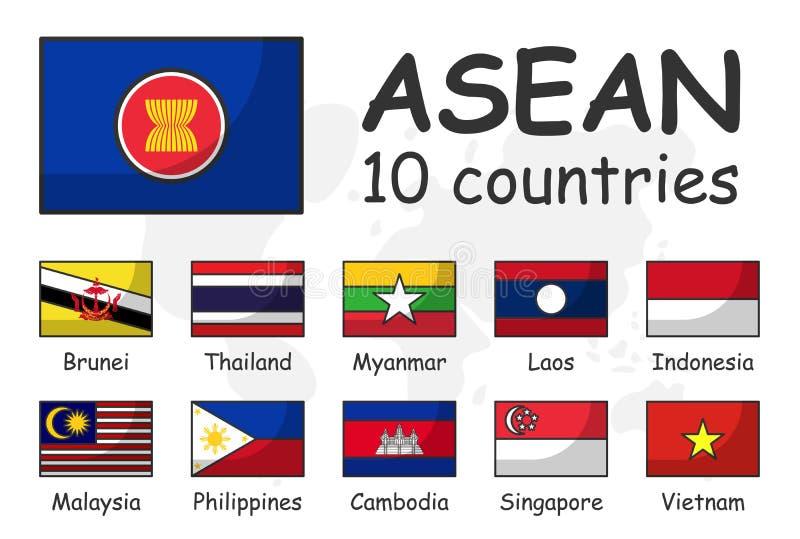 ASEAN en lidmaatschapsvlag Vereniging van Zuidoostaziatische Naties Moderne eenvoudige het ontwerp en de krabbelwereldkaart van h royalty-vrije illustratie