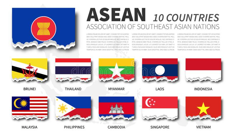 ASEAN flag  Association of Southeast Asian Nations  and membership on southeast asia map background . Torn paper design . Vector stock illustration