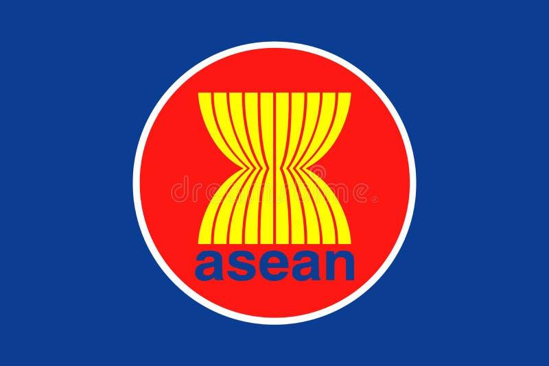 ASEAN-FLAGGA, anslutning av sydostliga asiatiska nationer vektor illustrationer