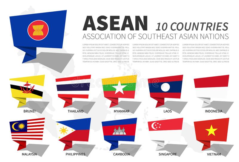 ASEAN-Flagge und -mitgliedschaft auf Südostasien-Kartenhintergrund Spracheblasendesign Vektor stock abbildung