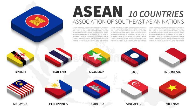 ASEAN-Flagge und Mitgliedschaft und Südostasien-Kartenhintergrund isometrischer Spitzenentwurf Vektor lizenzfreie abbildung