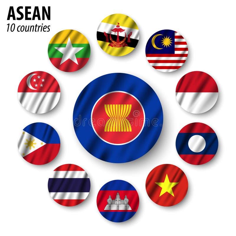 ASEAN-Flagge Vereinigung von südostasiatischen Nationen und von Mitgliedschaft Wellenartig bewegender Gewebeentwurf Vektor vektor abbildung