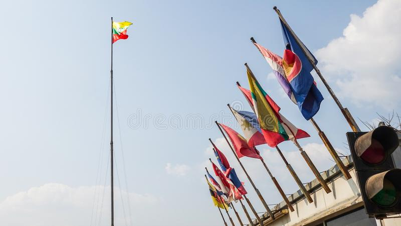 Myanmar flag and the ASEAN Nations flags stock images
