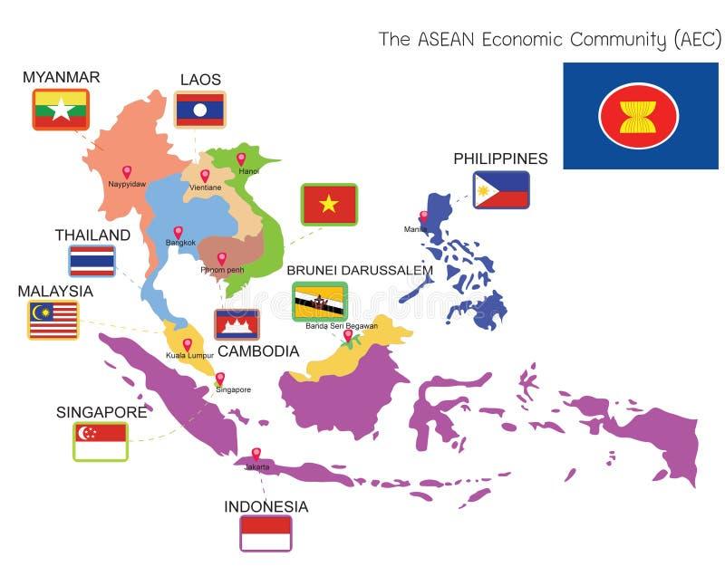 ASEAN-KAART royalty-vrije illustratie