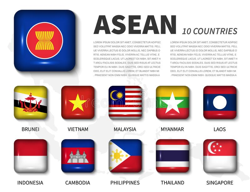 ASEAN and membership Association of Southeast Asian Nations . Shiny round angle square button flag on white background with. Southeast asia map . Vector vector illustration