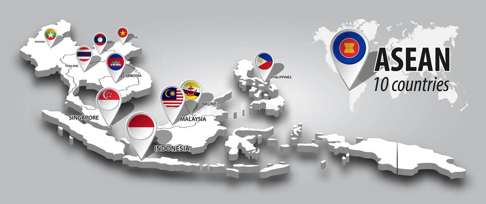 ASEAN and membership flag on 3D map Southeast asia perspective view and GPS navigator pin on gray color gradient background . royalty free illustration