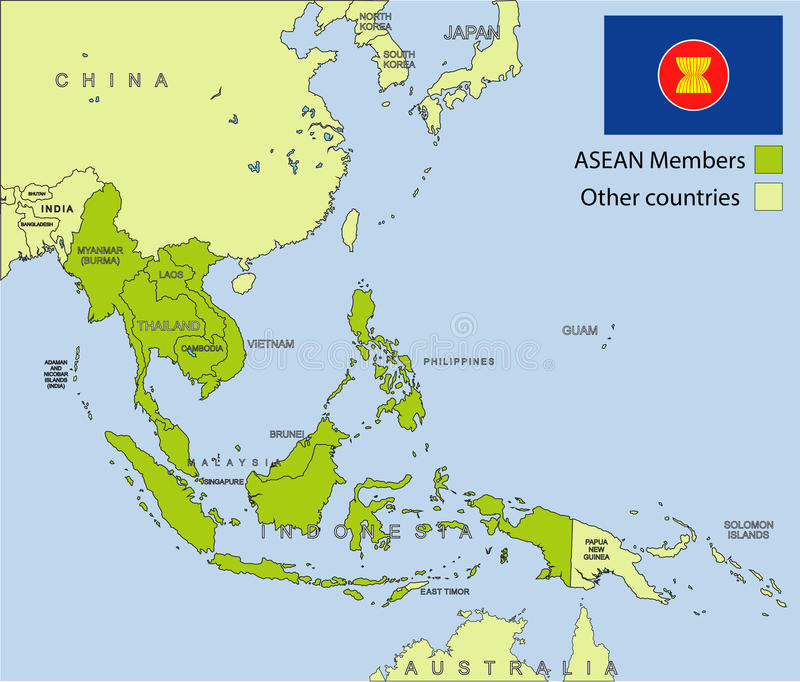 Asean-organisation vektor illustrationer