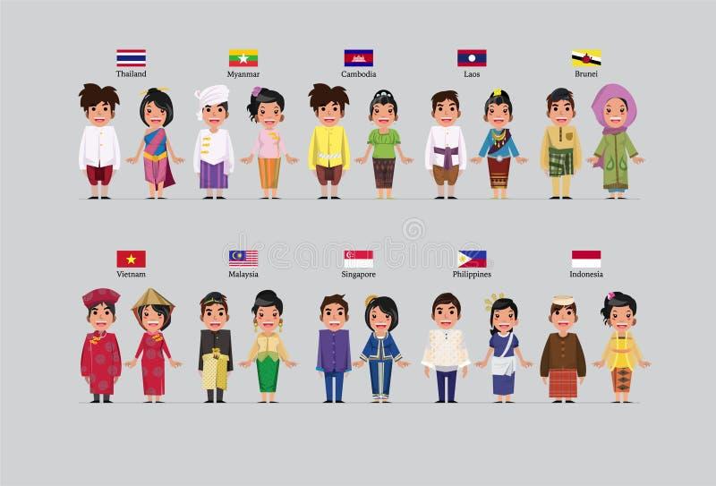 ASEAN-pojkar och flickor vektor illustrationer