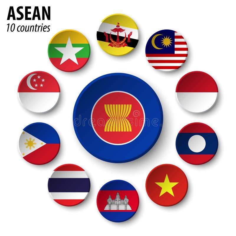 ASEAN skojarzenie Azji Południowo Wschodniej narody i członkostwo royalty ilustracja