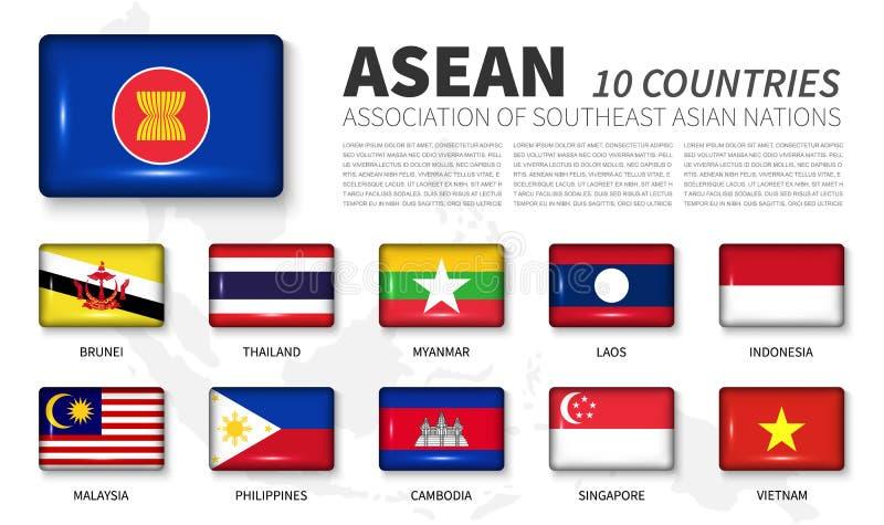 ASEAN und Mitgliedschaft Vereinigung von südostasiatischen Nationen Glänzende Vollwinkelrechteck-Knopfflagge auf weißem Hintergru lizenzfreie abbildung