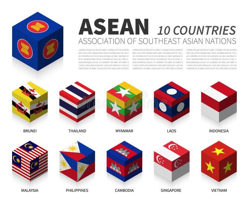 ASEAN Vereinigung von südostasiatischen Nationen und von Mitgliedschaft Kubikentwurf der flagge 3D Vektor stock abbildung