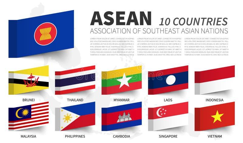 ASEAN Vereniging van Zuidoostaziatische Naties en lidmaatschapsvlaggen Kleverig notaontwerp Vector stock illustratie