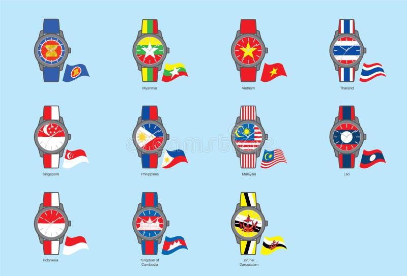 ASEAN Watch&Flag εικονιδίων (Κοινότητα της ASEAN) απεικόνιση αποθεμάτων