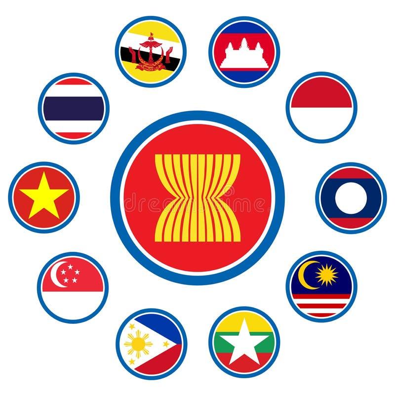ASEAN wspólnoty gospodarczej, AEC związek biznesowy forum dato che projekt teraźniejszy, wewnątrz royalty ilustracja