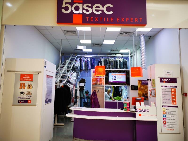 5asec Romênia - serviços de limpeza básicos para a roupa e o linho imagem de stock