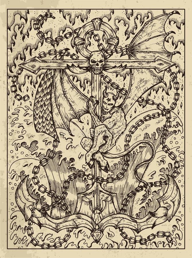 asegurar Concepto místico para la carta de tarot del oráculo de Lenormand ilustración del vector