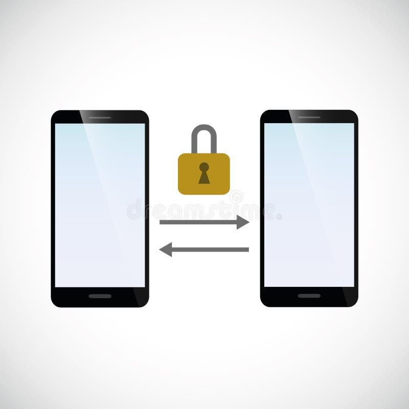 Asegure de intercambio de datos entre dos smartphones stock de ilustración