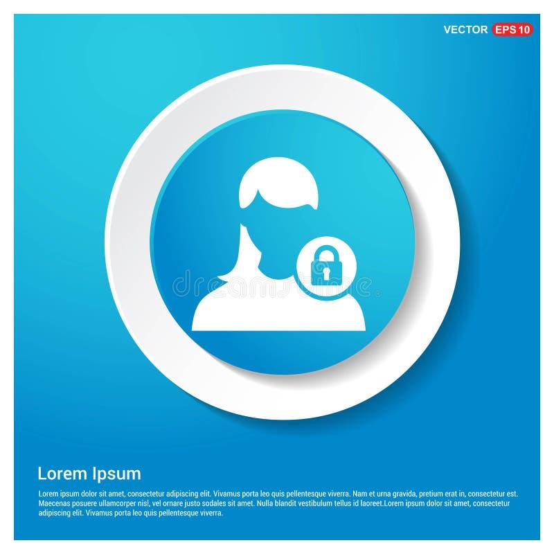 Asegure el botón azul de la etiqueta engomada del web del extracto del icono del usuario ilustración del vector