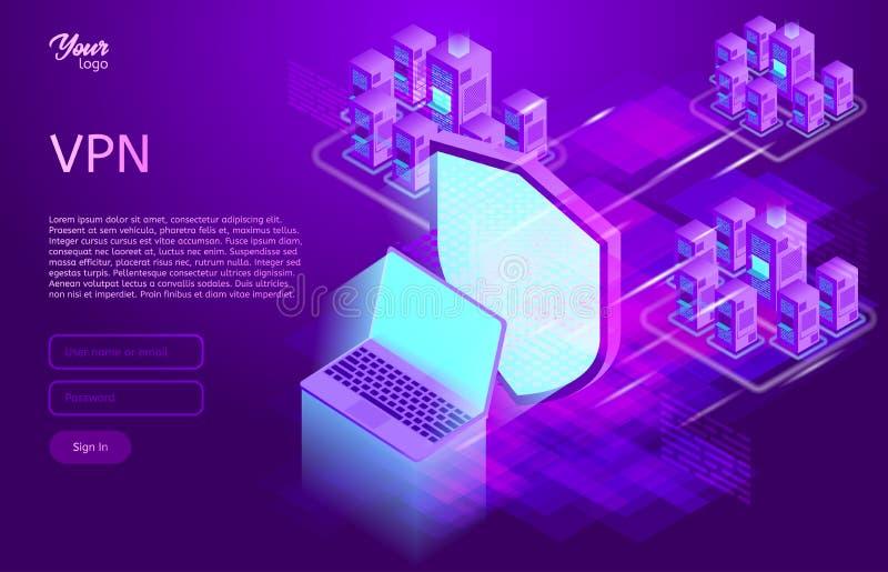 Asegure el concepto del vpn Ejemplo isométrico del vector del servicio en red privado virtual stock de ilustración