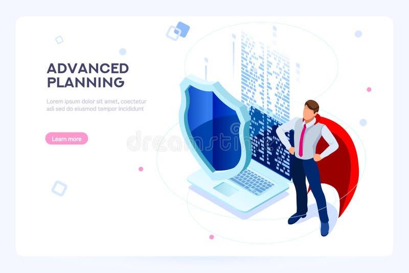 Asegure el datacenter duro del centro de la protección del antivirus de la seguridad de la base de datos stock de ilustración
