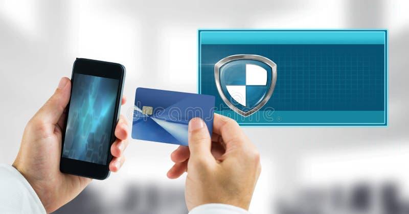 Asegure el icono y el teléfono del escudo de la transacción con la tarjeta de banco fotos de archivo libres de regalías