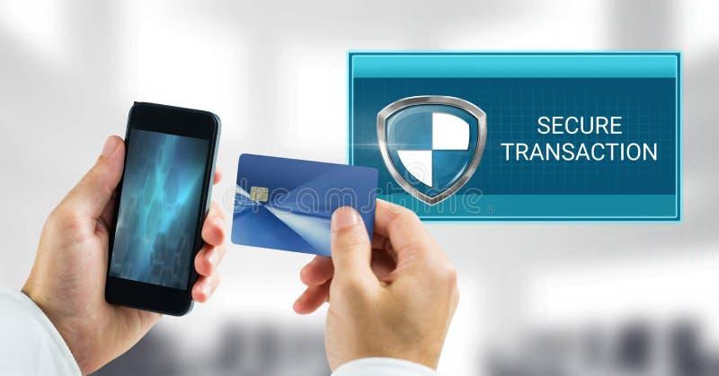 Asegure el icono y el teléfono del escudo de la transacción con la tarjeta de banco foto de archivo libre de regalías