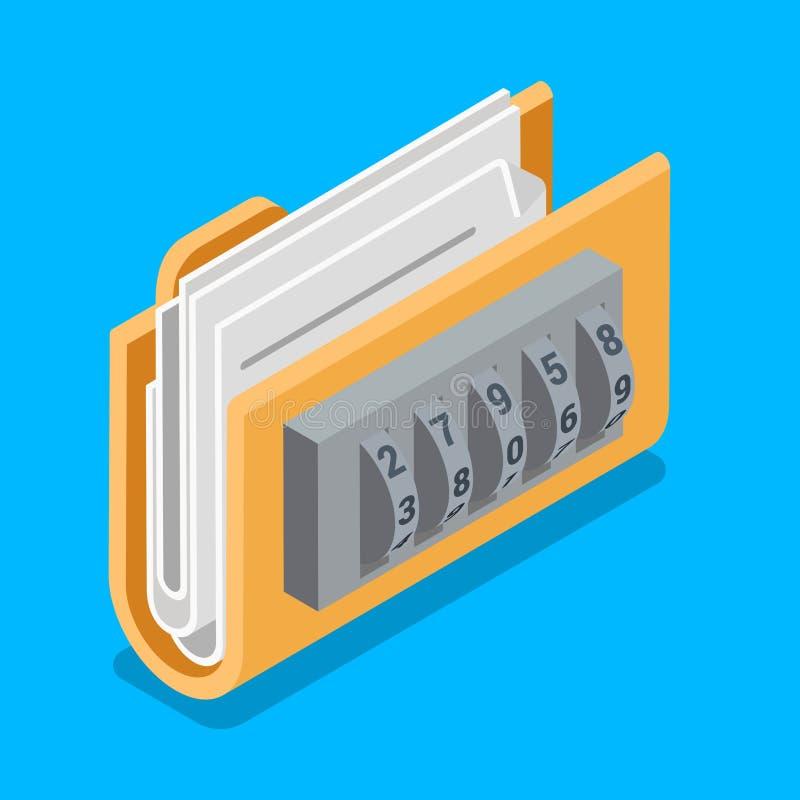 Asegure el vector isométrico plano 3d de la cerradura del código del anillo de la carpeta de archivo de datos ilustración del vector
