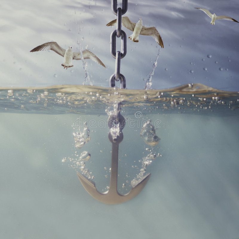 Asegure la caída en el agua fotografía de archivo libre de regalías