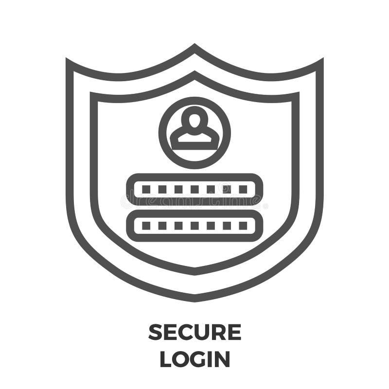 Asegure la línea icono del inicio de sesión ilustración del vector