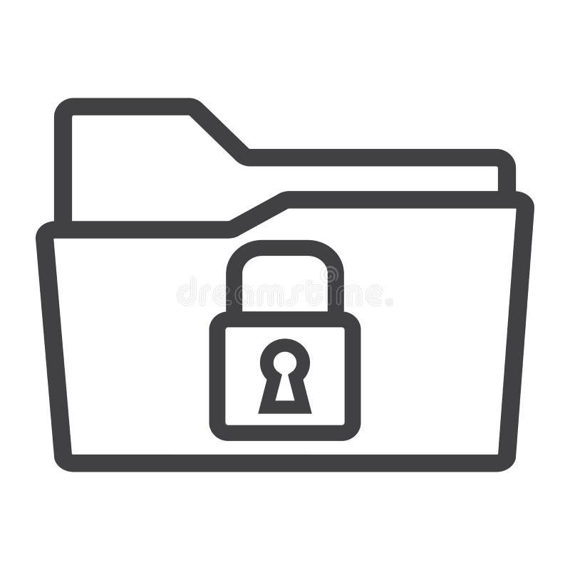 Asegure la línea icono, seguridad y candado de la carpeta de los datos stock de ilustración