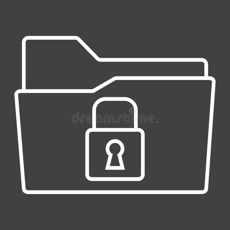 Asegure la línea icono, seguridad y candado de la carpeta de los datos libre illustration