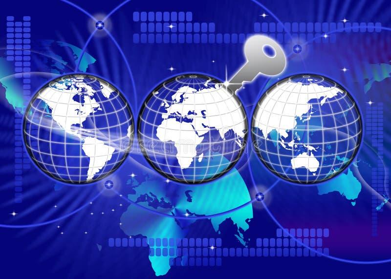 Asegure la llave global de la tecnología del mundo libre illustration