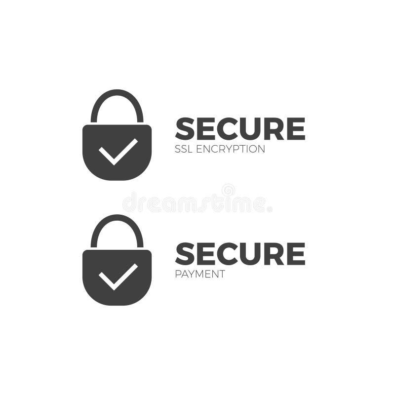 Asegure la transacción de la encripción del SSL del icono del pago ilustración del vector