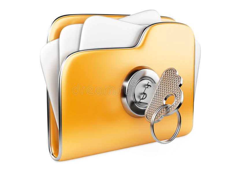 Asegure los ficheros. Carpeta con llave. stock de ilustración