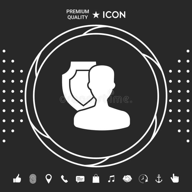 Asekuracyjna osłona z użytkownik ikoną Graficzni elementy dla twój designt ilustracja wektor