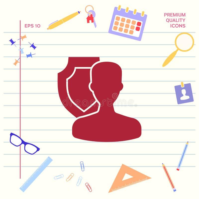Asekuracyjna osłona z użytkownik ikoną Graficzni elementy dla twój projekta royalty ilustracja
