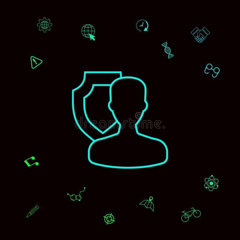 Asekuracyjna osłona z użytkownikiem - kreskowa ikona Graficzni elementy dla twój designt royalty ilustracja