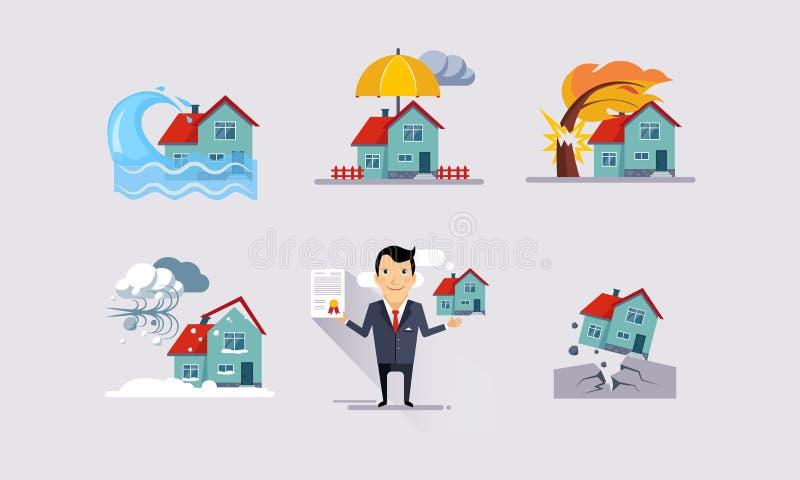Asekuracyjne ikony ustawiają, katastrofy naturalne, majątkowa ochrona, ubezpieczenie i ryzyko ubezpiecząca wydarzenie wektoru ilu ilustracji
