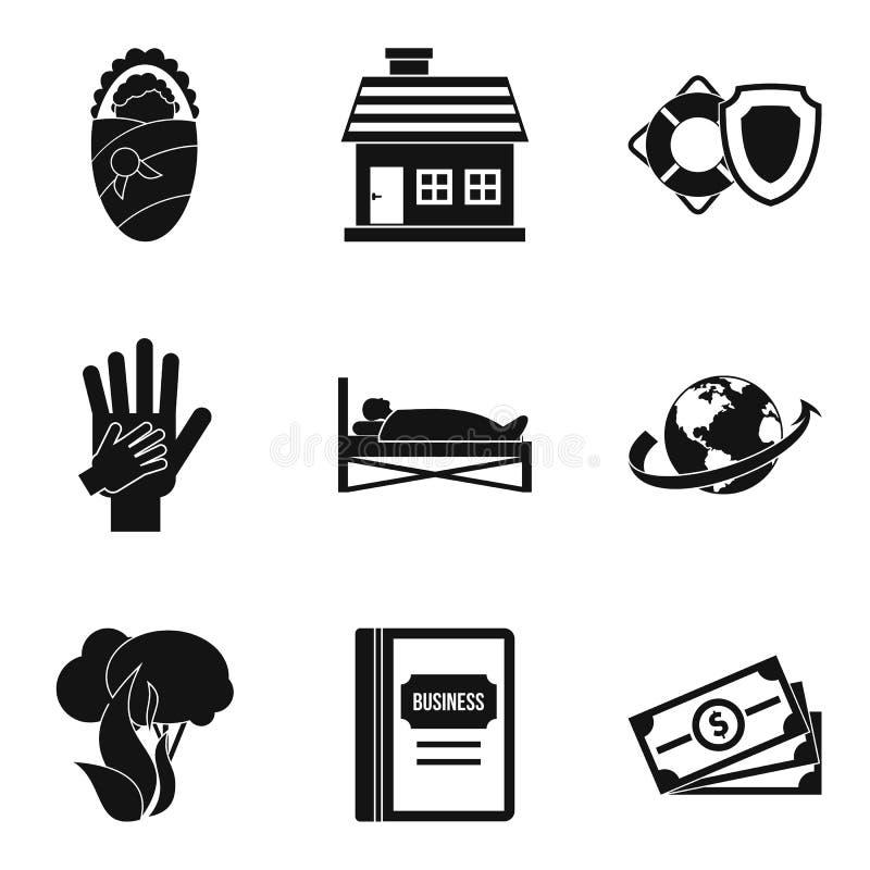 Asekuracyjnego biznesu ikony ustawiać, prosty styl royalty ilustracja