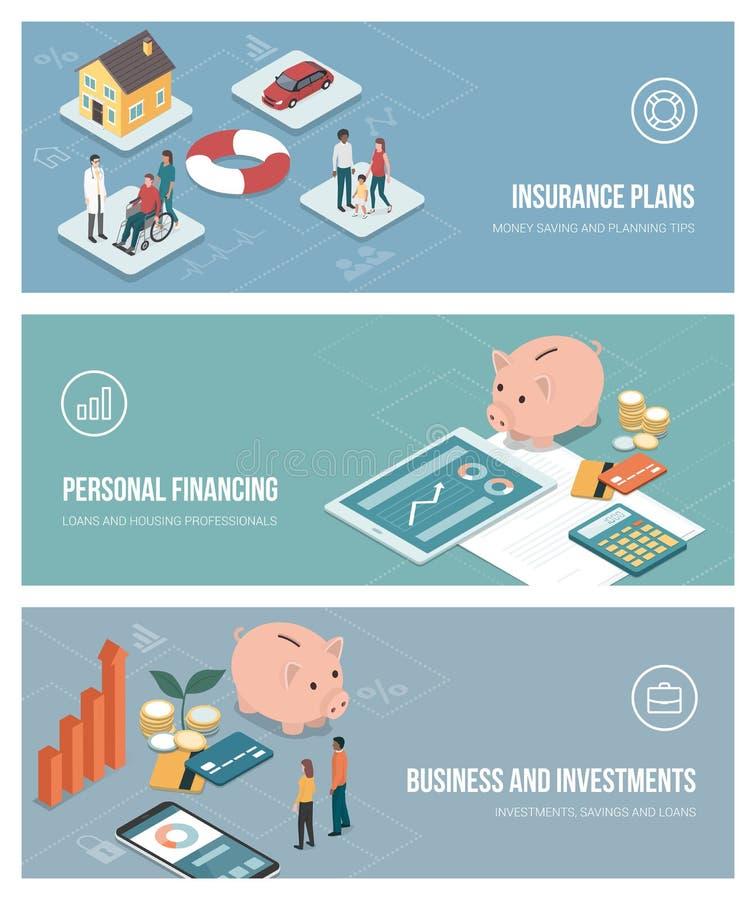 Asekuracyjni i pieniężni plany ilustracja wektor