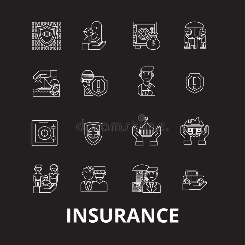 Asekuracyjny editable kreskowy ikony wektorowy ustawiający na czarnym tle Asekuracyjne białe kontur ilustracje, znaki, symbole ilustracji
