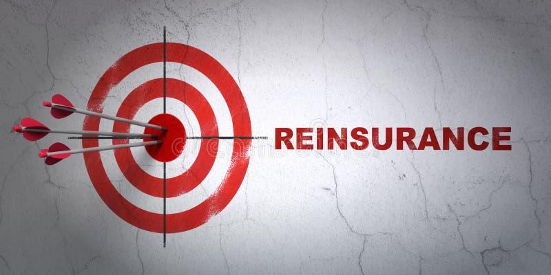 Asekuracyjny pojęcie: cel i reasekuracja na ściennym tle royalty ilustracja