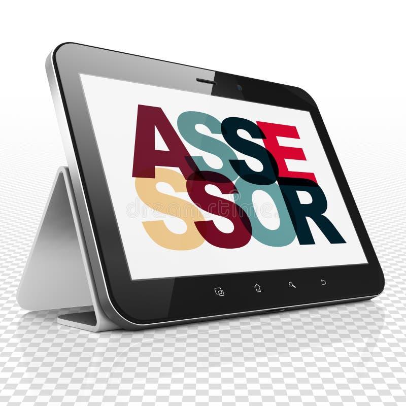 Asekuracyjny pojęcie: Pastylka komputer z asesorem na pokazie ilustracji