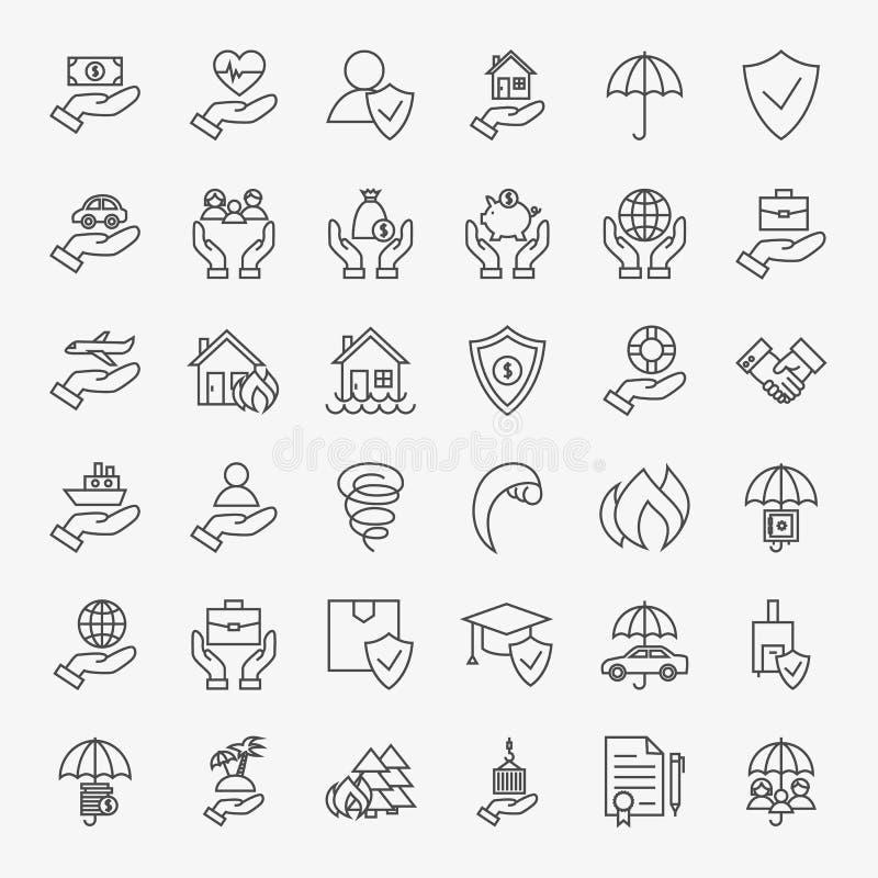 Asekuracyjnych Kreskowej sztuki projekta ikon Duży set